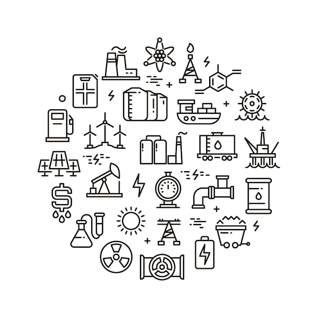 Icone della linea di energia, potenza e carburante Vettore Premium