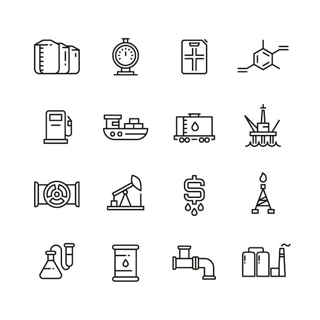 Icone della linea di produzione di petrolio e gas e attrezzature industriali Vettore Premium