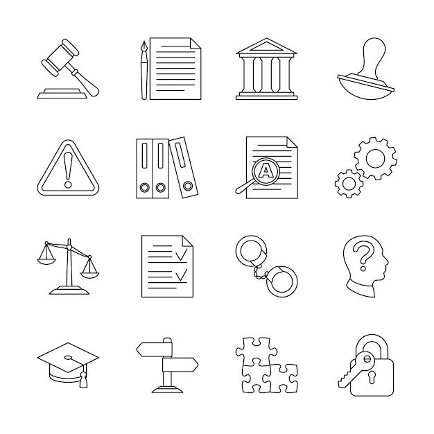Icone della linea legale di conformità e regolamentazione Vettore Premium