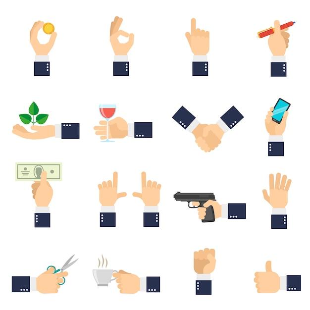 Icone della mano di affari piane Vettore gratuito