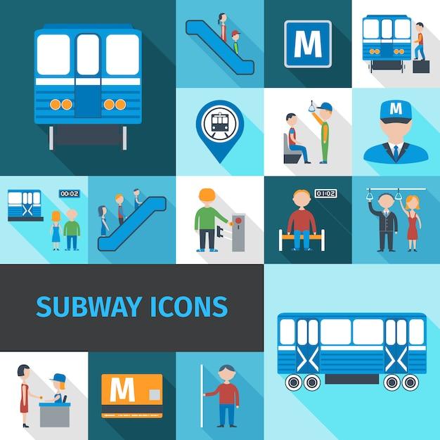 Icone della metropolitana piatte Vettore gratuito