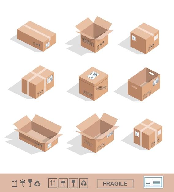 Icone della raccolta delle scatole di cartone di consegna aperte, chiuse, sigillate Vettore Premium
