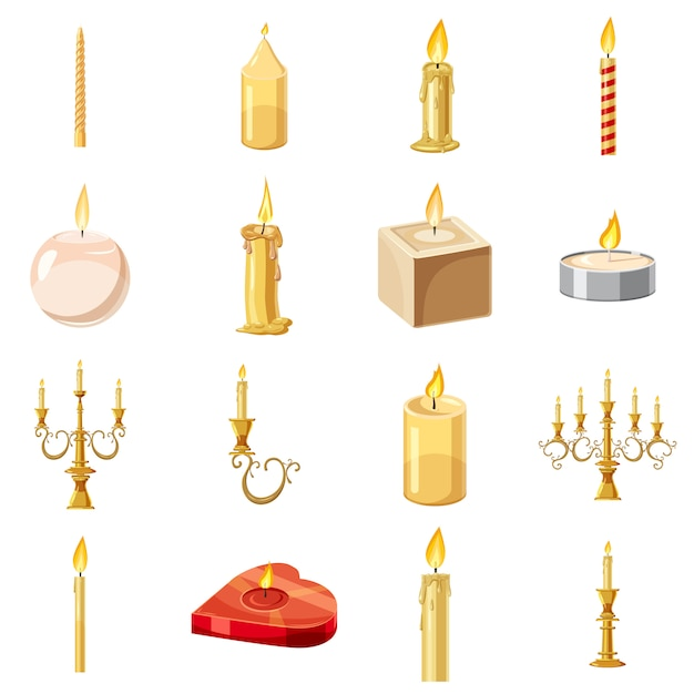 Icone delle forme delle candele messe, stile del fumetto Vettore Premium