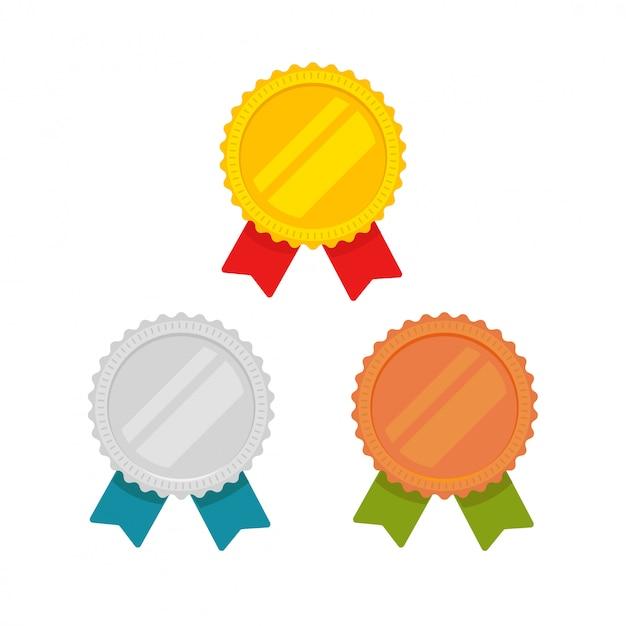 Icone delle medaglie messe isolate Vettore Premium