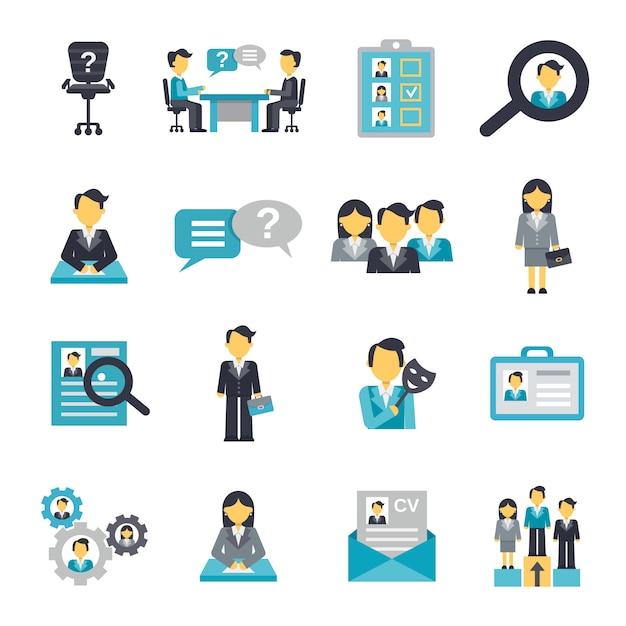 Icone delle risorse umane piatte Vettore gratuito