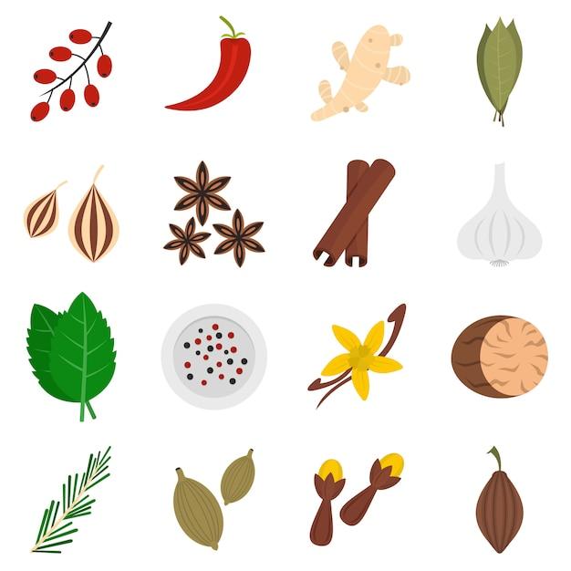 Icone delle spezie impostate in stile piano Vettore Premium
