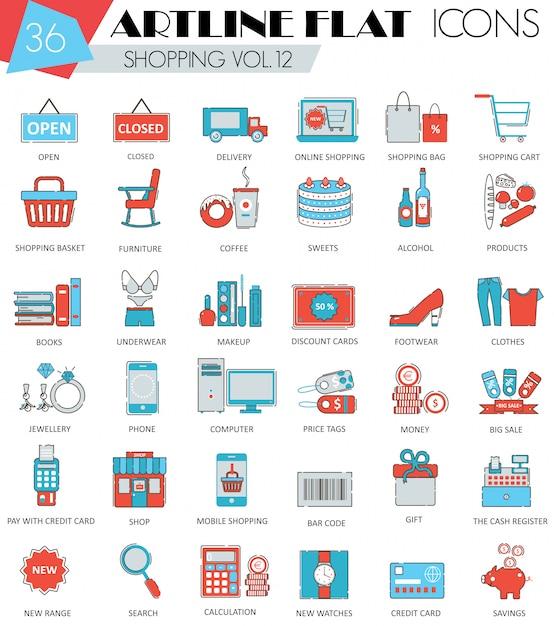 Icone dello shopping linea piatta di vettore Vettore Premium