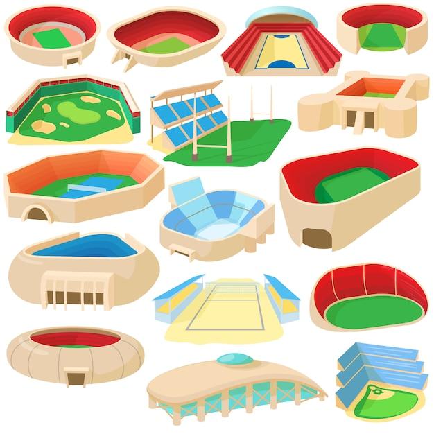 Icone dello stadio dello sport del fumetto messe Vettore Premium