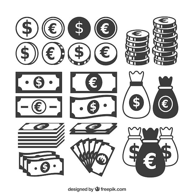 Icone denaro Vettore gratuito