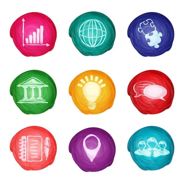 Icone di affari dell'acquerello rotondi Vettore gratuito