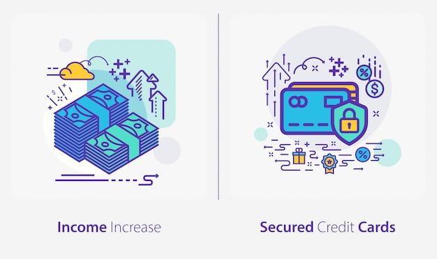 Icone di affari e finanza, aumento del reddito, carte di credito garantite Vettore Premium
