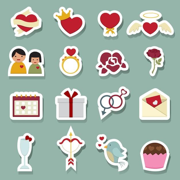Icone di amore giorno di san valentino Vettore Premium