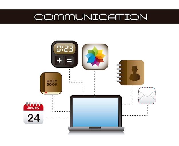 Icone di app con il computer portatile sopra il vettore bianco del fondo Vettore Premium