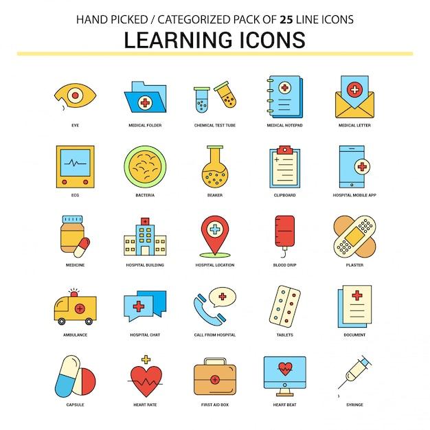 Icone di apprendimento set di icone di linea piatta Vettore Premium