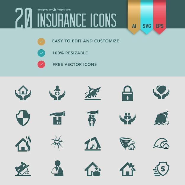 Icone di assicurazione piatta vettoriali Vettore gratuito