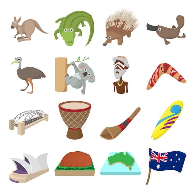Icone di australia in stile cartoon per web e dispositivi mobili Vettore Premium