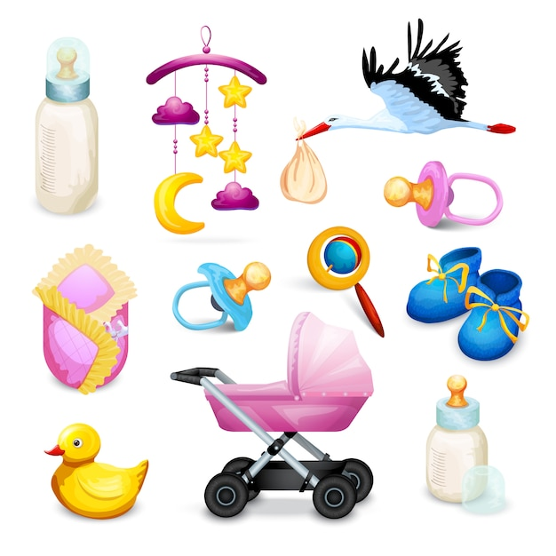 Icone di baby shower Vettore gratuito