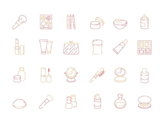 Icone di bellezza. gli oggetti di trucco per le donne rossetto smalto crema ombretti cosmetici vettore simboli colorati Vettore Premium