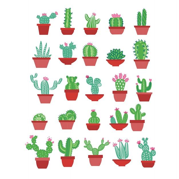 Icone di cactus in uno stile disegnato a mano piatta su uno sfondo bianco. cactus domestico delle piante verdi con i fiori in vasi. Vettore Premium