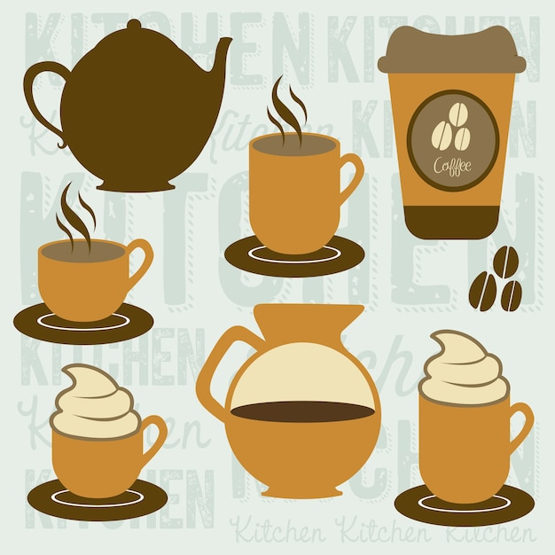 Icone di caffè Vettore Premium