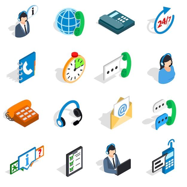 Icone di call center in stile 3d isometrico. illustrazione di vettore isolata raccolta stabilita di servizio telefonico Vettore Premium