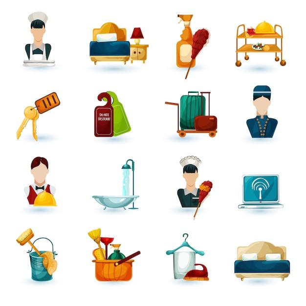 Icone di cameriera dell'hotel Vettore gratuito