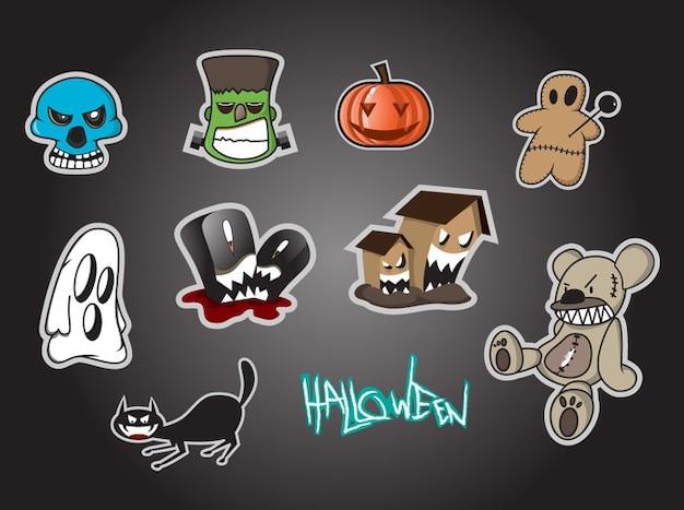 Icone di cartoni animati per halloween scaricare vettori