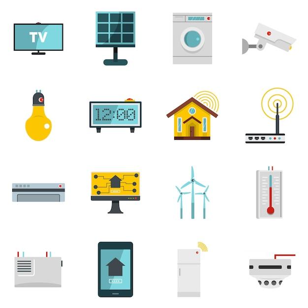 Icone di casa casa intelligente impostato in stile piano Vettore Premium