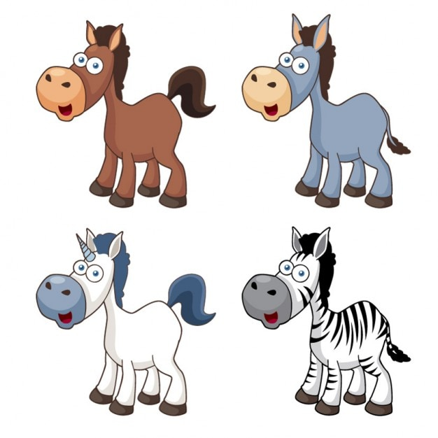 Icone di cavalli simpatico cartone animato animali
