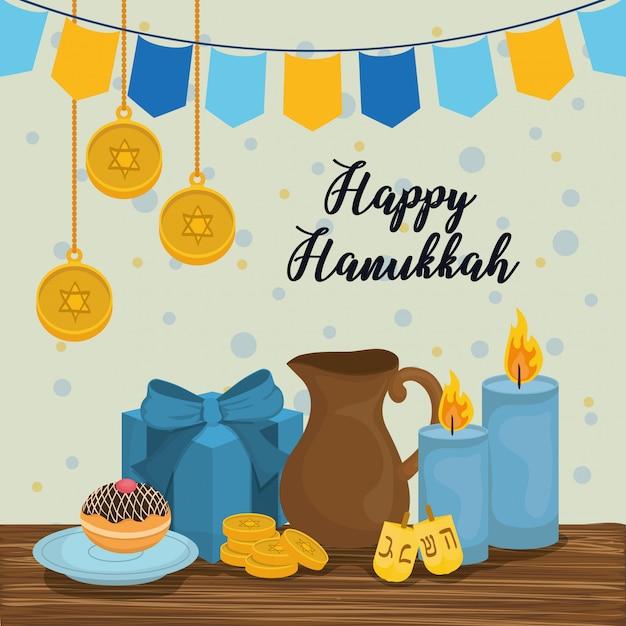Icone di celebrazione felice hanukkah Vettore Premium