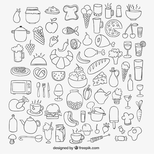 Icone di cibo abbozzato Vettore gratuito