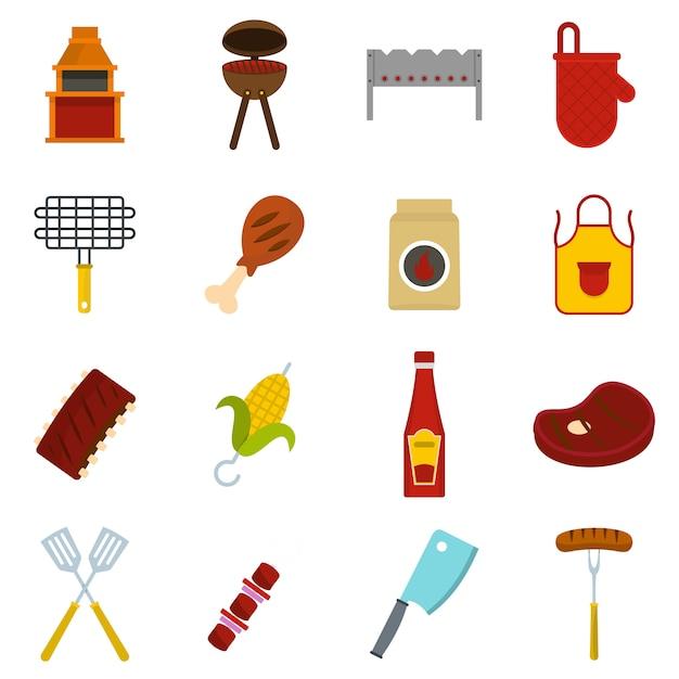 Icone di cibo bbq impostato in stile piano Vettore Premium