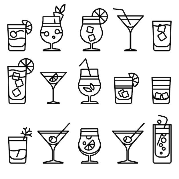 Icone di cocktail linea sottile Vettore Premium