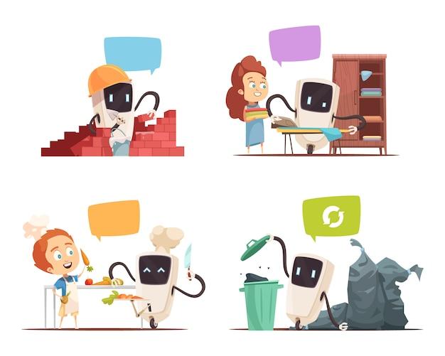 Icone di concetto 4 di assistenza dei robot Vettore gratuito