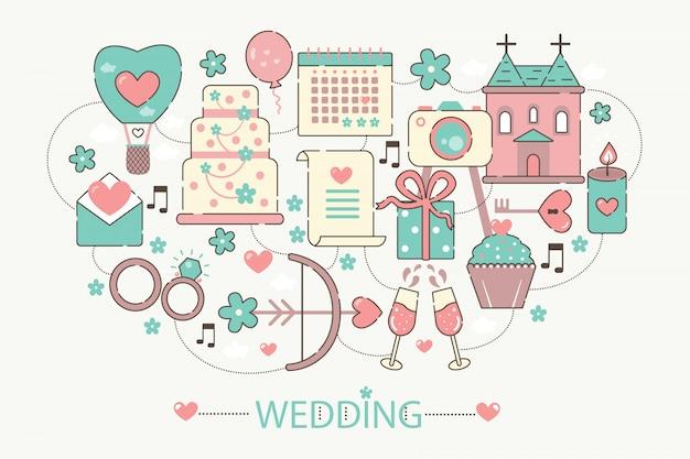 Icone di concetto di infographics di nozze Vettore Premium