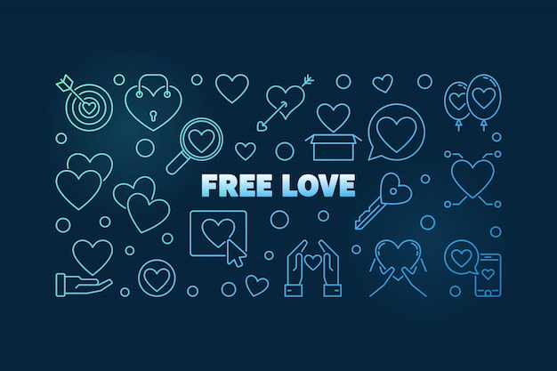 Icone di contorno blu amore gratis Vettore Premium