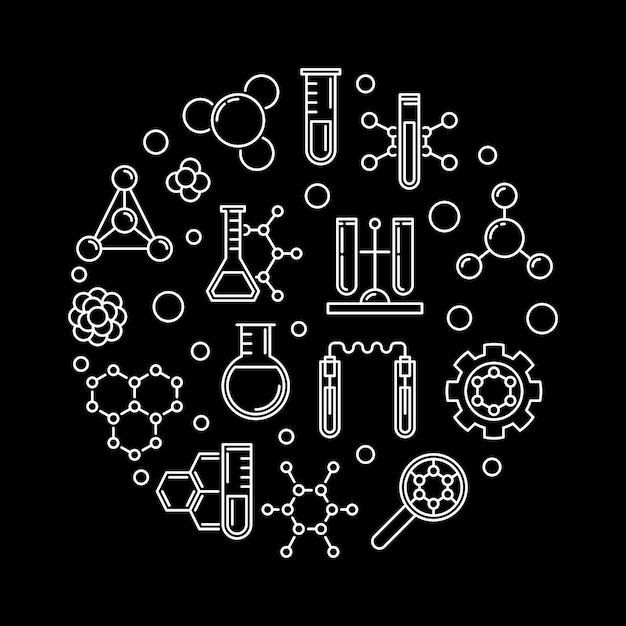 Icone di contorno concetto biochimica Vettore Premium