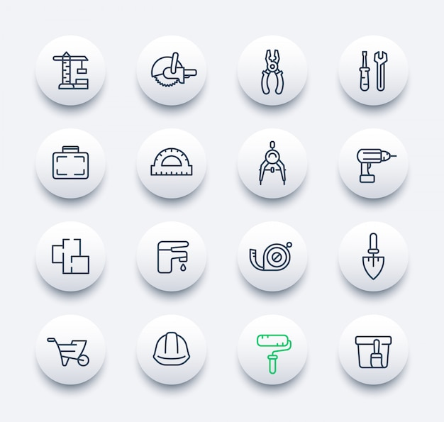 Icone di costruzione e ristrutturazione impostate in stile lineare Vettore Premium