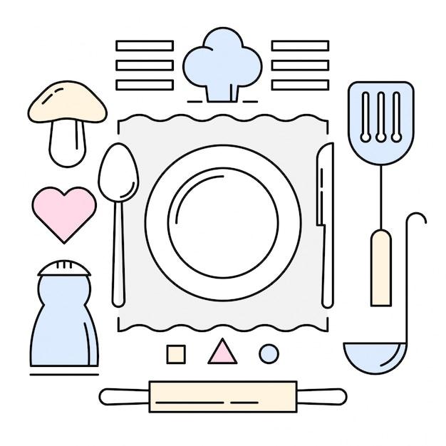 icone di cucina lineare vettore gratuito