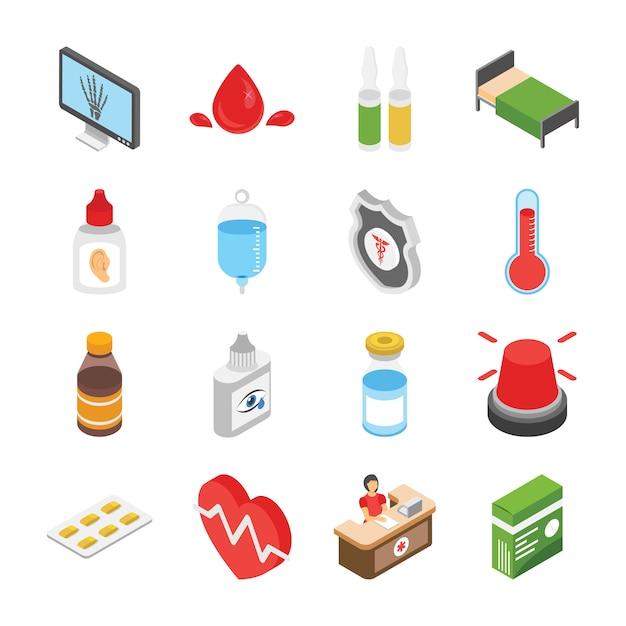 Icone di cure mediche Vettore Premium