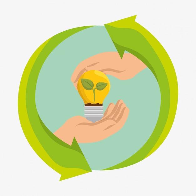 Icone di ecologia di energia della lampadina Vettore gratuito