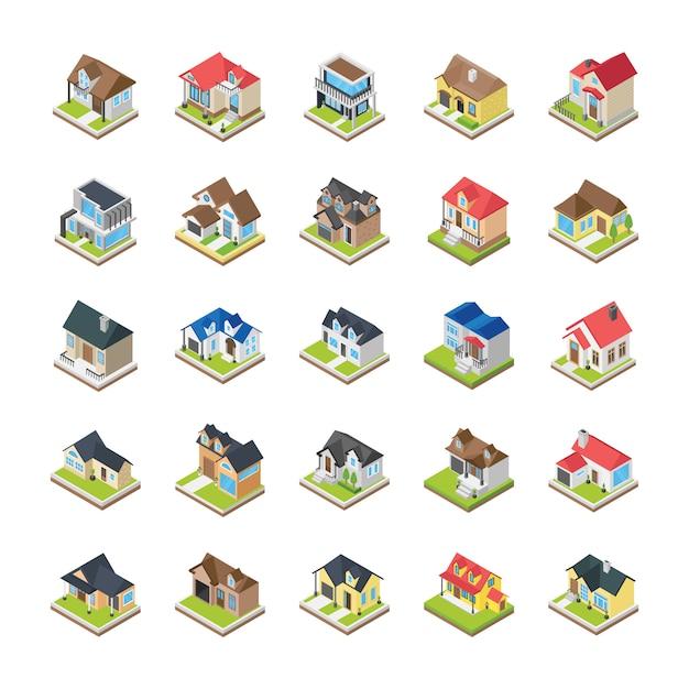 Icone di edifici di case Vettore Premium