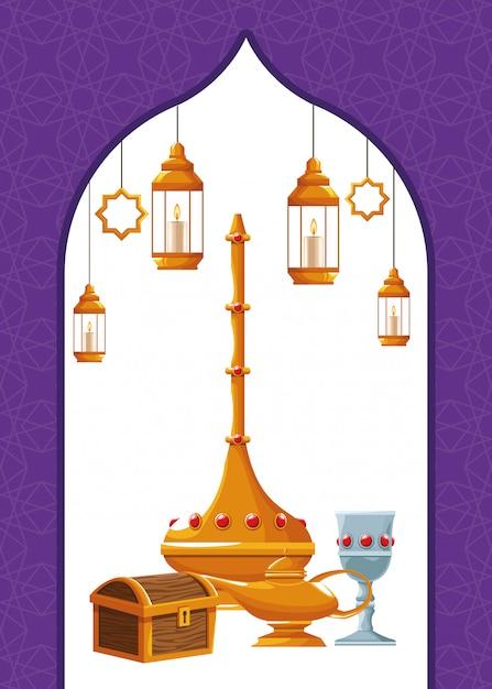 Icone di elementi arabi Vettore Premium