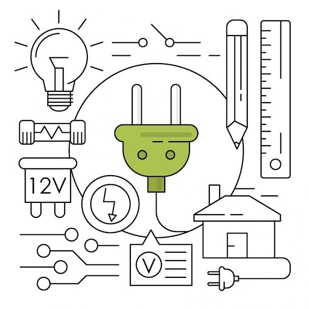 Icone di energia lineare elementi ambientali minimi Vettore gratuito