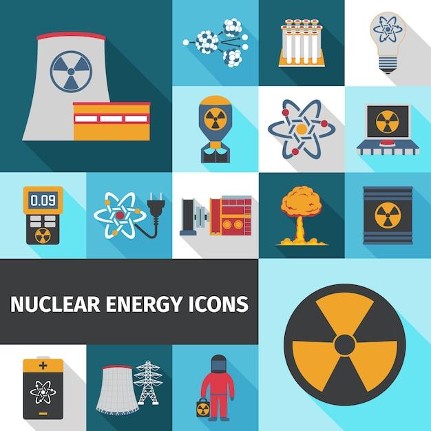 Icone di energia nucleare impostate piatte Vettore gratuito