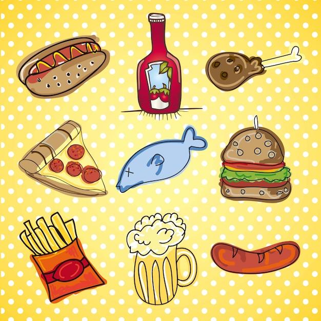 Icone di fast food raccolta di vettore di snack Vettore Premium