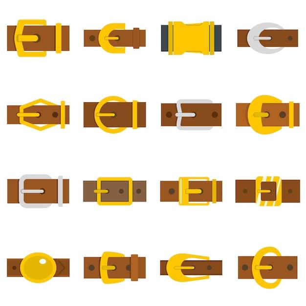 Icone di fibbie per cinture in stile piano Vettore Premium