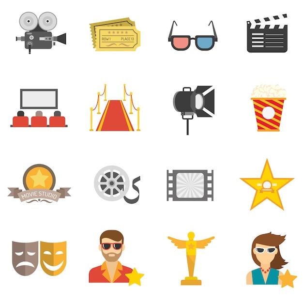 Icone di film piatte Vettore gratuito