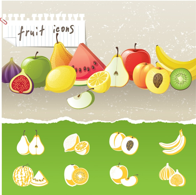 Icone di frutta Vettore Premium