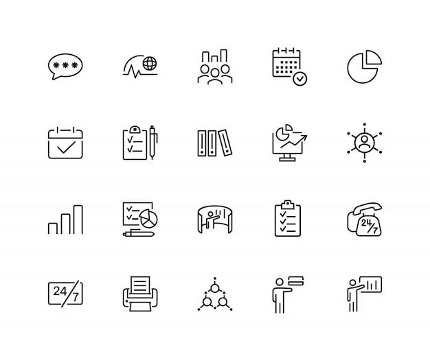 Icone di gestione set di venti icone di linea. scadenza, reclutamento, programma. Vettore Premium